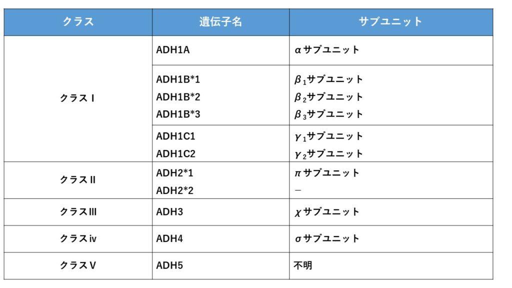 ADH(アルコール脱水素酵素)のサブユニットの種類